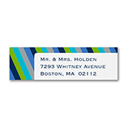Shaded Stripes - Address Label - Poolside